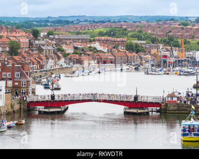 View of Whitby Town and the river Esk. - Stock Image
