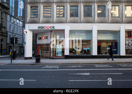 A branch of an HSBC bank on Park Row in Leeds City centre - Stock Image
