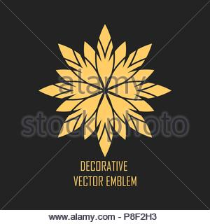 Circular geometric ornament on black background. - Stock Image