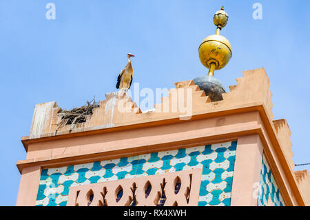 The tower of Moulay El yazid Mosque in the Medina of Marrakech, Morocco - Stock Image