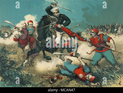 Japanese soldier on horseback engaging four Boxer troops as the cavalry crashed through a field outside a walled city in China. - Stock Image