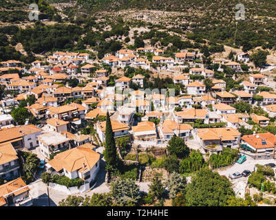 Aerial view of Maries traditional Village in central Thasos, Greek Island in Aegean Sea - Stock Image