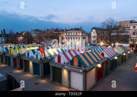 Looking out over the market towards the famous castle at dusk, Norwich, Norfolk, England, United Kingdom, Europe - Stock Image