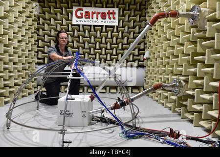 Brno, Czech Republic. 04th June, 2019. A part of Garrett Motion's research and development centre developing car of future technology is seen in Brno, Czech Republic, on June 4, 2019. Credit: Vaclav Salek/CTK Photo/Alamy Live News - Stock Image