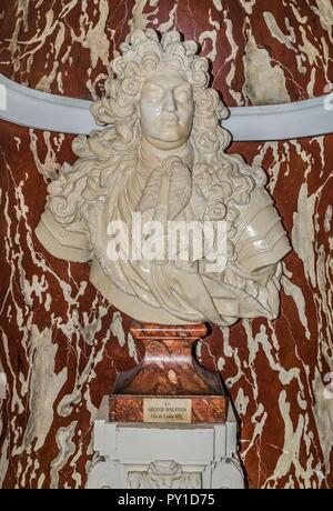Bust of Louis Grand Dauphin at the Chambord Castle. - Stock Image