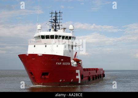 Rig support vessel 'Far Scotia' on North Sea off Norfolk Coast England - Stock Image