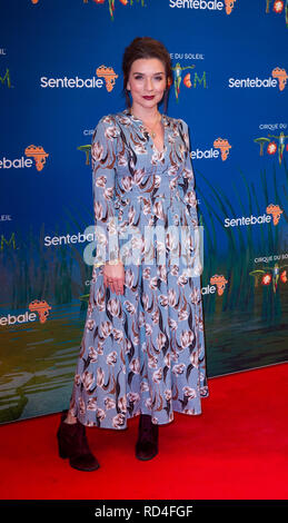 London, United Kingdom. 16 January 2019. Candice Brown arrives for the red carpet premiere of Cirque Du Soleil's 'Totem' held at The Royal Albert Hall. Credit: Peter Manning/Alamy Live News - Stock Image