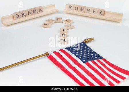 The American Election of 2012 looks to be a close run race between Barack Obama and Mitt Romney - Stock Image