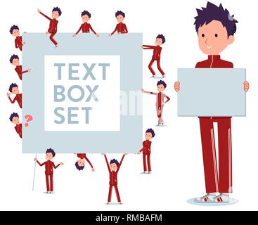A set of school boy in sportswear with a message board.Since each is divided, you can move it freely.It's vector art so it's easy to edit. - Stock Image