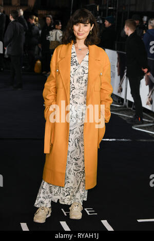 London, UK. 12th Mar, 2019. LONDON, UK. March 08, 2019: Jasmine Helmsley arriving for the premiere of 'The White Crow' at the Curzon Mayfair, London. Picture: Steve Vas/Featureflash Credit: Paul Smith/Alamy Live News - Stock Image