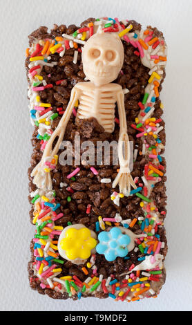 Skeleton in Coffin Sweet for Day of the Dead Festival Mexico City - Stock Image