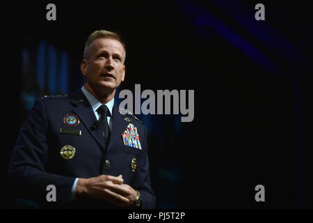 Air Force Gen. Terrence O'Shaughnessy, commander, U.S. Northern Command, addresses National Guard leaders at the National Guard Association of the United States 140th General Conference, New Orleans, Louisiana, Aug. 26, 2018. (U.S. Army National Guard photo by Sgt. 1st Class Jim Greenhill) - Stock Image