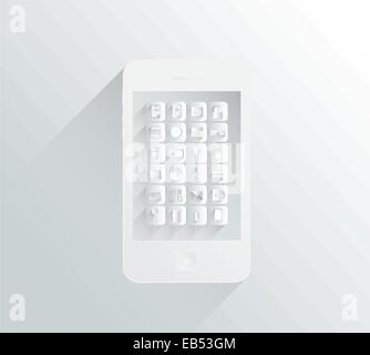 White and grey smartphone with apps in simple design - Stock Image