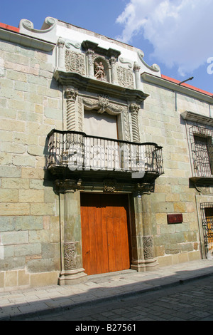 Facade of a Boroque Style House in Oaxaca City Oaxaca State Mexico - Stock Image
