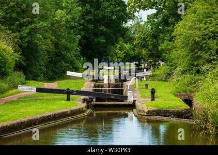 A flight of locks on the Tardebigge Flight, Worcester and Birmingham Canal, Worcestershire - Stock Image