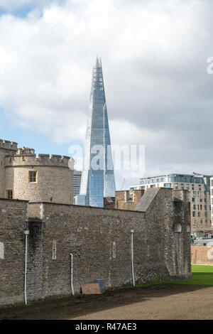London uk, The Shard, Tower Bridge - Stock Image