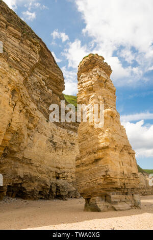Sea stack Lot's Wife in Marsden Bay, north east England, UK - Stock Image