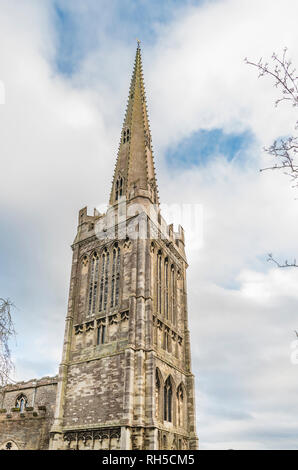 The tall spire of St Peter's Church, Oundle, Northamptonshire, England - Stock Image