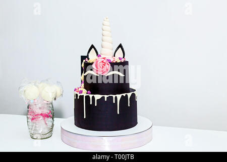 Round two-tiered cake in the form of a unicorn on a white background - Stock Image