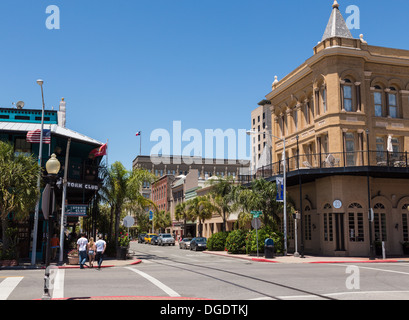 Buildings in Galveston Historic District Texas USA - Stock Image
