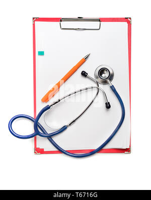 Red clipboard with blue stethoscope on white background. Health diagnostic concept - Stock Image
