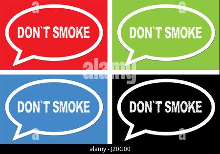DON'T SMOKE text, on ellipse speech bubble sign, in color set. - Stock Image
