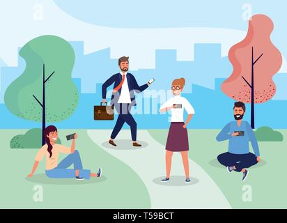 women and men with hairstyle in the park with smartphone vector illustration - Stock Image
