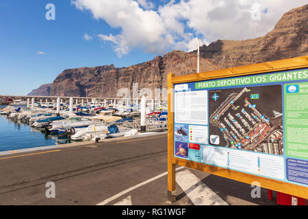 Los Gigantes marina and cliffs, Tenerife, Canary Islands - Stock Image