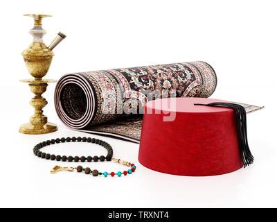 Red fez, carpet, prayer beads and hookah. 3D illustration - Stock Image