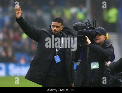 Brighton's new 14 Million pound signing Jurgen Locadia from PSV is introduced to the fans before the Premier - Stock Image
