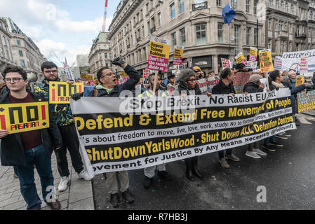 London, UK. 9th Dec, 2018. Movement for Justice carry a banner against Brexit in the united counter demonstration by anti-fascists in opposition to Tommy Robinson's fascist pro-Brexit march. The march which included both remain and leave supporting anti-fascists gathered at the BBC to to to a rally at Downing St. Police had issued conditions on both events designed to keep the two groups well apart. Credit: Peter Marshall/Alamy Live News - Stock Image