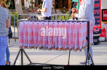Split Croatia, April 25, 2019 : After the finish line at B2Run Business race,Stack of medals ready to be distributed to finishers - Stock Image