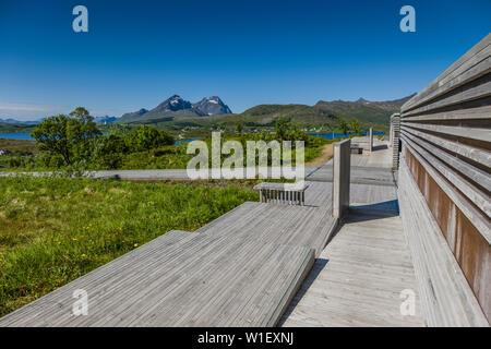 View from Torvdalshalsen picnic stop, Lofoten Islands, Norway. - Stock Image