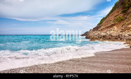 Panoramic view of the Coll Baix beach on Mallorca, Spain. - Stock Image