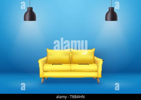 Interior of Modern yellow soft sofa - Stock Image