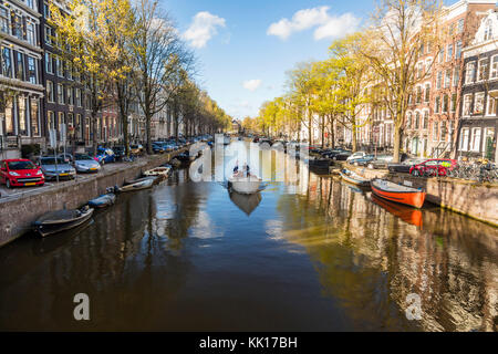 Amsterdam North Holland The Netherlands - May 2016: Canal, central Amsterdam, The Netherlands - Stock Image