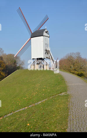 Bonne Chiere or Staakmolen, one of the four existing windmills in Bruges, Belgium. - Stock Image