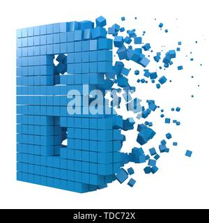 letter B shaped data block. version with blue cubes. 3d pixel style vector illustration. suitable for blockchain, technology, computer and abstract th - Stock Image