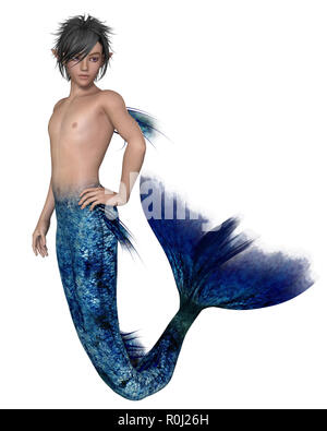 Young Merman with Dark Blue Fish Tail - Stock Image