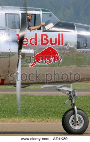 Zeltweg 2005 Airpower 05 airshow Austria, Mitchell B25J Red Bull bomber - Stock Image