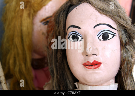 Close of of a large young female Sicilian marionette / puppet - Stock Image