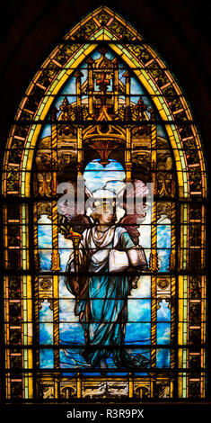 A angel is depicted on the Tiffany stained glass window in the First Presbyterian Church, Pittsburgh, Pennsylvania, USA - Stock Image