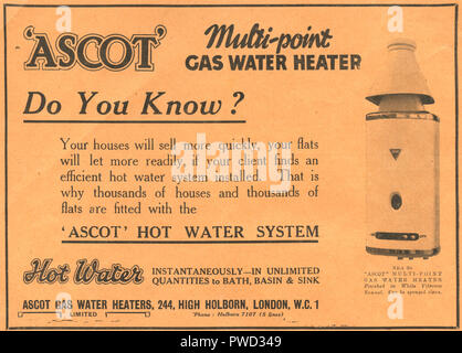Vintage advertisement for Ascot multi point gas water heaters dated January 17th 1936 in the Illustrated Carpenter and Builder magazine - Stock Image