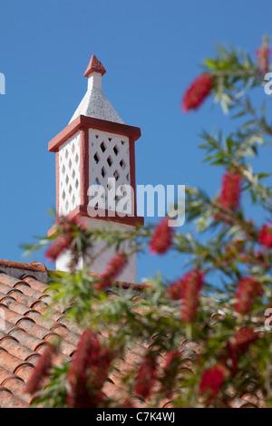 Portugal, Algarve, Alte, Chimney & Flowers - Stock Image