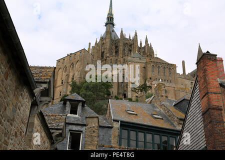 View of Abbey from Remparts, Le Mont Saint Michel, Manche, Normandy, France - Stock Image