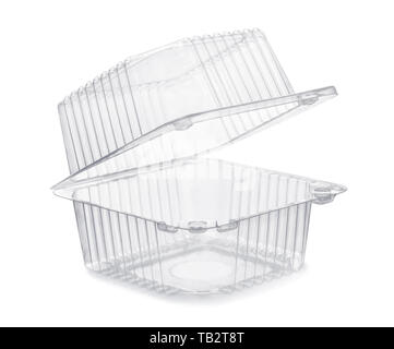Open empty transparent plastic food container isolated on white - Stock Image