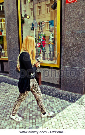 blonde woman walking with her dog in the arms - Stock Image
