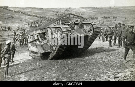 Mark I Male Tank C19, moves up to the front through Chimpanzee Valley on the 15th September 1916, the first use - Stock Image