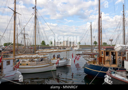 Historical days of more than 100 wooden ships in Elsinore Culture Harbour at Pentecost or Whitsun. Helsingør, Elsinore, Denmark. Kronborg Castle. - Stock Image