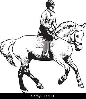 horse riding sketch illustration - vector - Stock Image